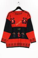 Ohne Label-Vintage-Strick-Pullover mit Print mit Print-L