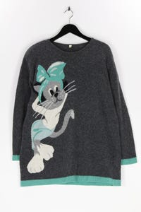 Ohne Label - vintage-strick-pullover mit intarsia knit-muster - D 40