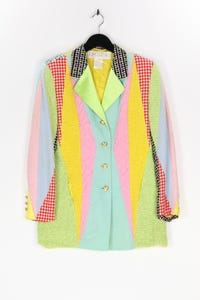 ESCADA MARGARETHA LEY - 80s-vintage-patchwork-blazer mit schurwolle - D 40