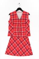Ohne Label-Vintage Style-Kostüm aus Woll-Mix mit Karo-Muster aus Woll-Mix mit Karo-Muster-L