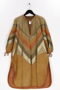 grünstein couture - vintage-kleid mit raffungen mit  zickzack-muster - D 38-40