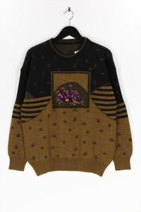 Ohne Label - rundhals-pullover aus woll-mix mit stickereien - 50