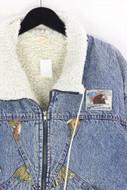 Ohne Label-80s-Jeans-Jacke mit Faux Fur-Kragen mit Faux Fur-Kragen-XL