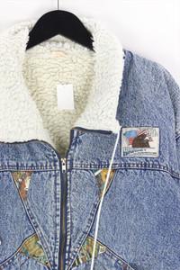 Ohne Label - 80s-jeans-jacke mit faux fur-kragen - XL