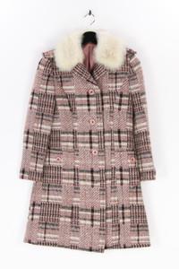 Ohne Label - karo-winter-mantel mit faux fur-kragen - S