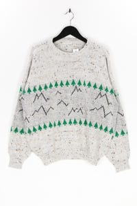Ohne Label - muster-strick-pullover mit wolle - XL