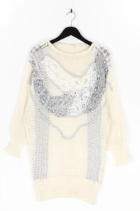 Ohne Label - strick-kleid aus lochstrick mit stickereien - L