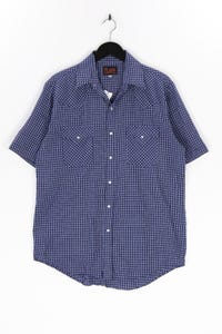 PLAINS - kariertes kurzarm-hemd mit aufgesetzten taschen - M