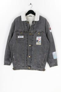 Ohne Label - jeans-jacke  mit applikationen - XL