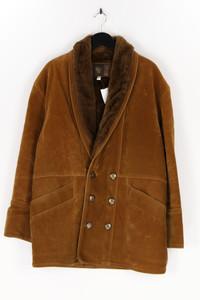 GV - faux leather-mantel mit faux fur-kragen - M