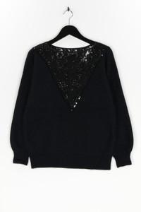 Ohne Label - strick-pullover mit angora mit spitzen-einsatz - L