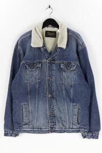 WRANGLER - jeans-jacke im used look mit faux fur-kragen - XXL