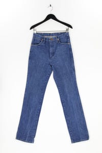 WRANGLER - used look straight cut jeans mit logo-patch - W32