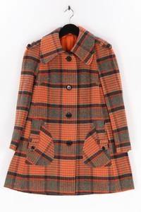 HUCKE - winter-mantel aus woll-mix mit karo-muster - D 38