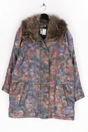 C.Keer - mantel mit floralem muster mit echt-pelz-besatz - D 44