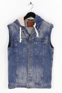 ZARA MAN - jeans-weste im used look mit kapuze - S