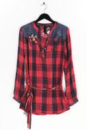 Desigual - karo-bluse mit stickereien - M