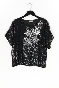 LLON - pailletten-kurzarm-bluse mit floralem muster - S