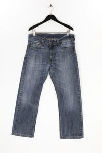 LEVI STRAUSS & CO. - used look straight cut jeans mit logo-patch - W36