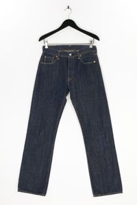 LEVI STRAUSS & CO. - used look straight cut jeans mit logo-patch - W30
