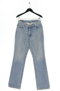Lee - used look straight cut jeans mit logo-patch - W32
