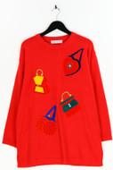 CORALINA - strick-pullover aus woll-mix mit patches - XXL