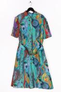 VELIA - print-kleid mit gürtel - D 46