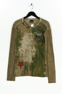 Just cavalli - longsleeve-shirt mit v-neck im military-stil - 48
